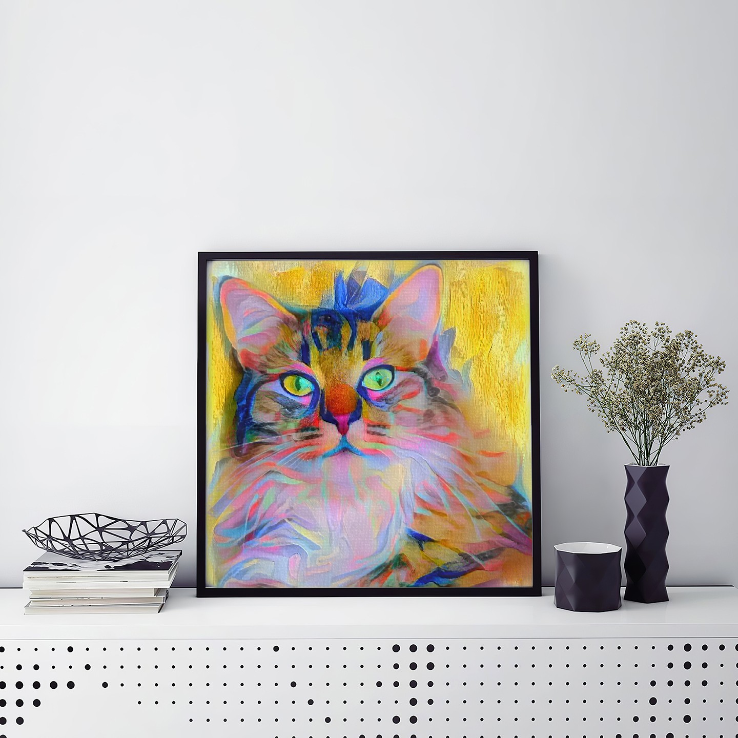 Reappearance - Custom Colorful Pet Portrait Framed Canvas Painting