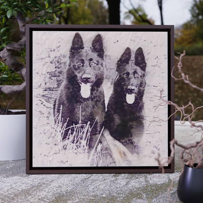 Walnut Framed Canvas