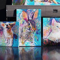 colorful custom bunny portrait