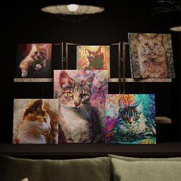 Variety of custom cat portraits