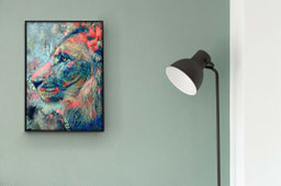 Canvas art of an abstract lion