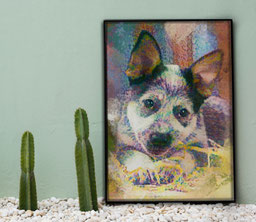 Framed custom pet painting of a puppy