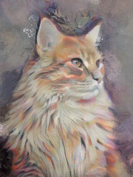 Framed Canvas Painting of a cat portraits Painting