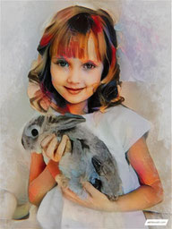 Canvas Art of a rabbit portraits Painting